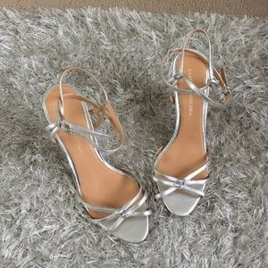 Badgley Mischka Ankle Wrap Heels Silver